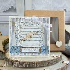 scrapbooking kartki piękna rustykalna kartka ślubna w pudełeczku prezent