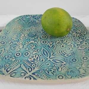 ceramika folkowy turkusowy talerzyk, fusetka, na łyżkę, podstawka, mały, talerzyk