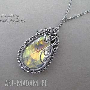 wisiorek swarovski pear shape crystal ab, wire wrapping, naszyjnik, wire-wrapping