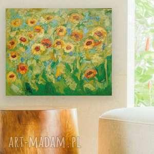 słoneczniki obraz olejny na płótnie, obraz ręcznie malowany, obraz ze słonecznikami, obraz