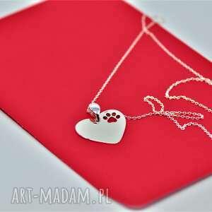 handmade naszyjniki serce z łapką na łańcuszku / srebro 925