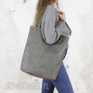 hand made na ramię shopper xl torba szara zamek / prosta vegan
