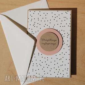Kartka na różne okazje, urodzinowa, imieninowa, kropki, subtelna, delikatna,