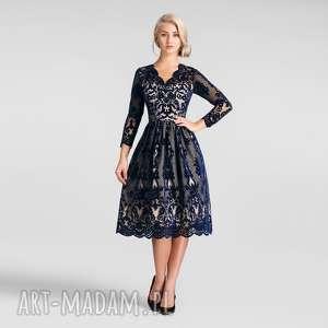 Sukienka DARIA Midi Nikoletta, koronkowe, sukienki, midi, marszczenie, rozkloszowana,