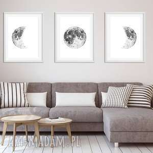 Zestaw 3 prac A3, plakat, plakaty, księżyc, moon, sztuka, obraz
