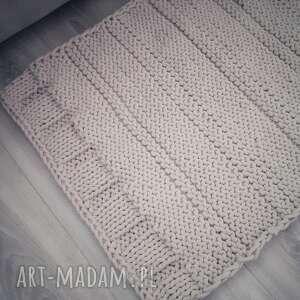 prostokątny dywan ze sznurka na drutach, sznurka, rękodzieło