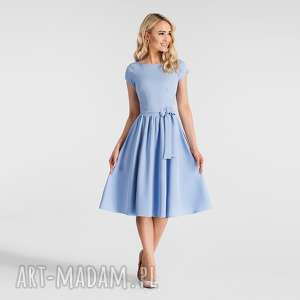 sukienki sukienka marie midi niebieski pastelowy, pasek, niebieska