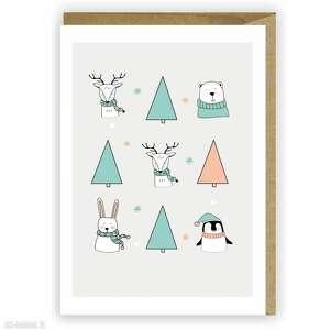 kartki kartka bożonarodzeniowa zwierzaki - cardie, świąteczna, boże