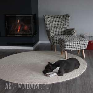 dywan okrągły dziergany ze sznurka bawełnianego 200 cm, okrągły