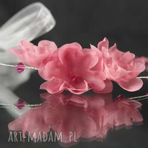 opaska z różowymi kwiatami, swarovski, kryształ, jedwab, kwiat, ślub, ozdoba