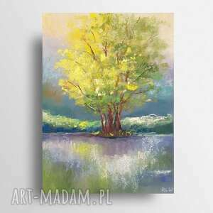 drzewo-praca wykonana pastelami formatu a4, drzewo, pastele