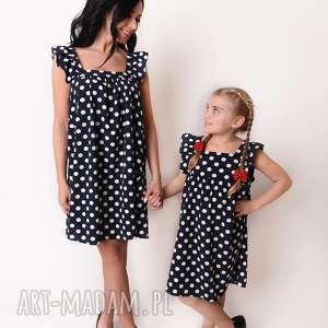 LATORI - Sukienka Dziewczęca z kolekcji Mama i Córka dla córki LD43/3 (Groszki)