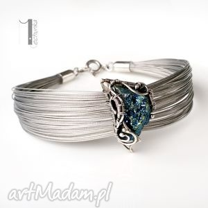 arachne - blue - bransoleta z pirytem - wrapping, srebro, wire