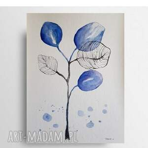 niebieskie listki-akwarela formatu 24/32