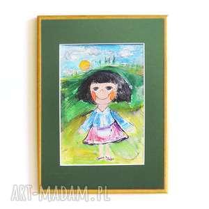 Dziewczynka obrazek, dziewczynka rysunek, rysunek do pokoju dziewczynki, ilustracja
