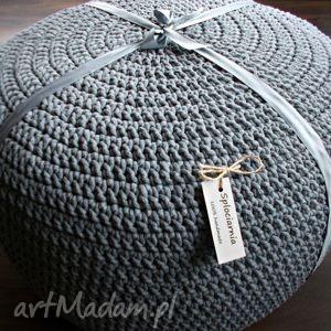 Duża Pufa - stolik ze sznurka, pufa, sznurek, bawełna, szydełko