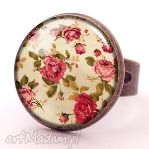 retro róże - pierścionek regulowany, vintage prezent
