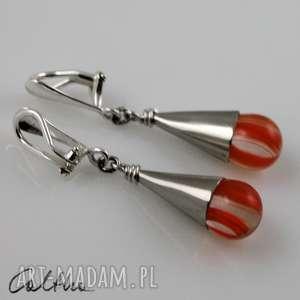 Pomarańczowe prążki - klipsy, wiszące, krople, szklane, łezki, kolczyki
