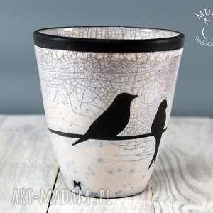 wazon osłonka raku jaskółki - technika raku, raku, ptaszki, ceramika