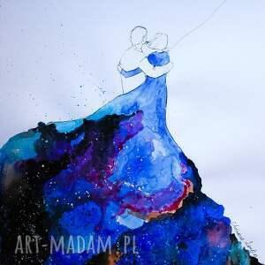 Akwarela Niebieska sukienka ll artystki A. Laube, akwarela, miłość, balon, kosmos
