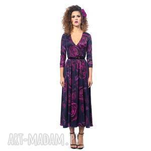 sukienki brigitte - magic rose, elastyczna, klasyczna, kwiaty, oryginalny