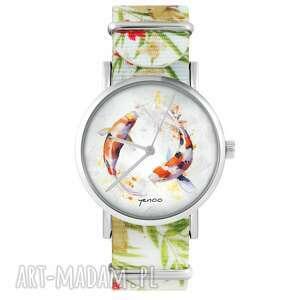 zegarek - karpie koi kwiaty, nylonowy, biały, zegarek, nylonowy pasek, typ
