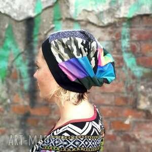 czapki czapka damska patchworkowa smerfetka na podszewce, miękka, lekko