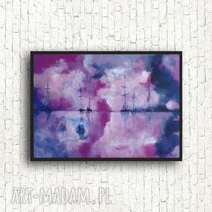 jagodowe morze-obraz akrylowy formatu 40/30 cm, morze, płótno, łodzie, akryl