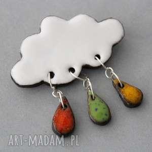 handmade broszki chmurka i krople deszczu - broszka ceramika
