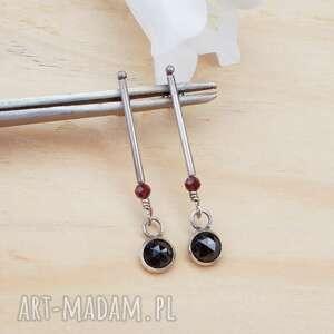Czarne kropki spinelu - kolczyki jewelsbykt srebrna biżuteria