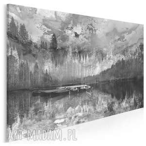 obraz na płótnie - pejzaż góry czarno-biały 120x80 cm 30703