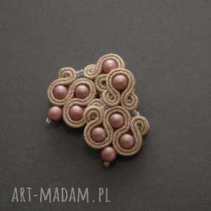 różowe klipsy sutasz, sznurek, wiszące, błyszczące, eleganckie, delikatne