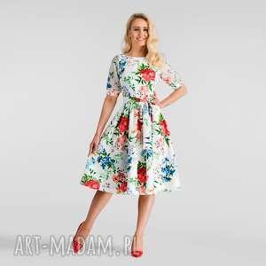 sukienka luiza midi ariana, sukienka, midi, rozkloszowana, kwiaty