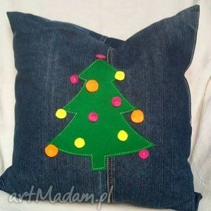 pomysł na upominki na święta Jeansowa Poduszka z Choinką, dekoracyjna