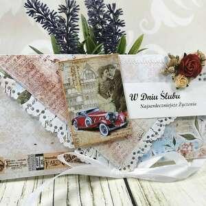 kartka ślubna - retro car k24, ślub, kartka, samochód, wesele, kopertówka