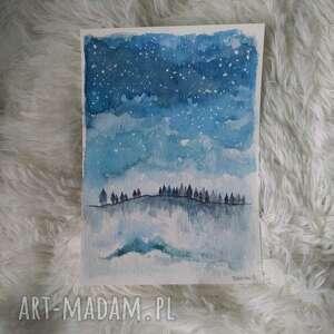 pezjaż zimowy ii-akwarela formatu a5, akwarela, zima, drzewa