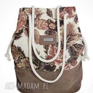prezent na święta, torebki kwiecista w brązie, kwiaty, brąz, sznur, torebka, torba