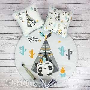 panda welurowa mata do zabawy oraz dwie poduszki, dywanik, dekoracyjny, lindanie