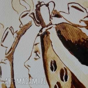 kawowa wróżka - obraz kawą malowany - art nouveau nostalgia