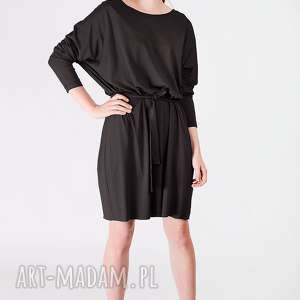 dzianinowa sukienk oversize, black, dzianinowa, wiązana, fason, luźna