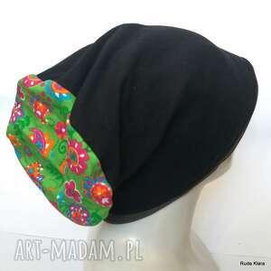 czapki czapka bardzo duża wiosenna na dredy damska, czapka, wiosna, etno, kwiaty
