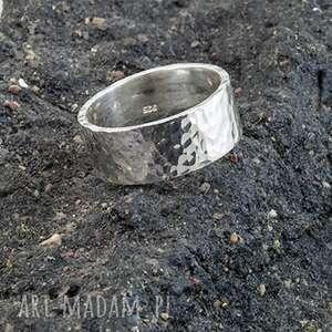 obrączka - pierścień, srebro 925, młotkowana