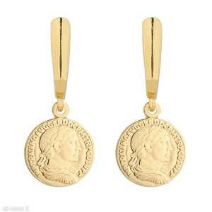 złote kolczyki z monetami - pozłacane, medalion, coins, gold