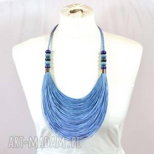 niebieski stopniowany naszyjnik lniany, z lnu, sznurkowy