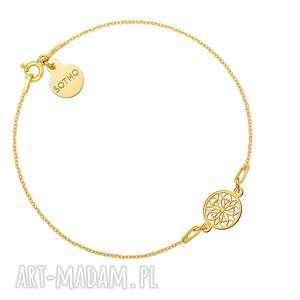 złota bransoletka z ażurową rozetką - ażurowa