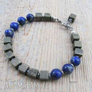 piryt z lapis lazuli - bransoletka, piryt, lazuli, srebro