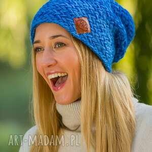 explorer cieniowany niebieskości, czapki, ciepłe, jesień, zima, ręcznierobione