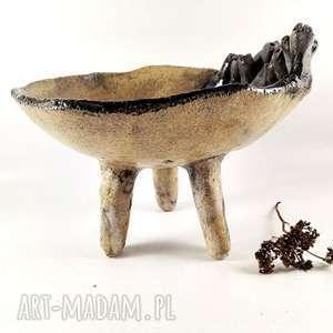 Miseczka na nóżkach ceramika polepione miska, dekoracja, sztuka