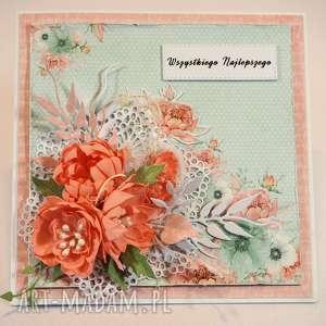 Kartka mix kwiatów, kartka, życzenia, scrapbooking