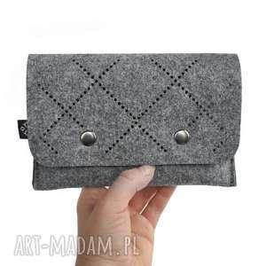 hand-made portfele portfel z filcu - ażurowy wzór vol. 2 szary